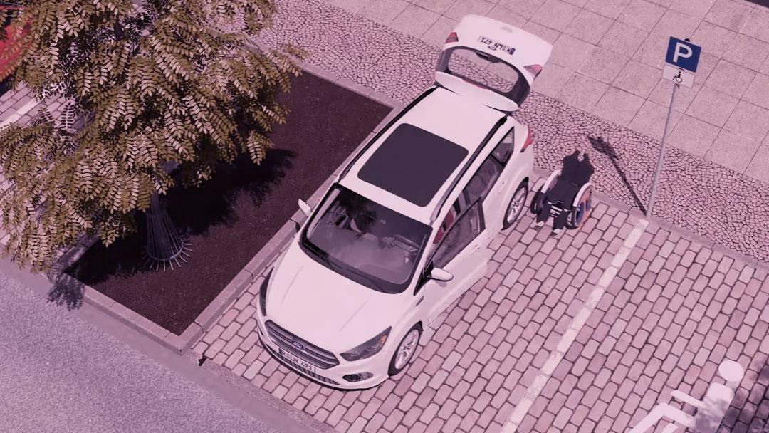 Ford cria cadeira de rodas que entra no carro sozinha