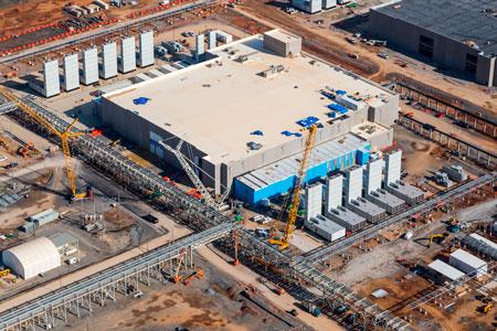 Vsta aérea do datacenter do Google no Tennessee, em construção.